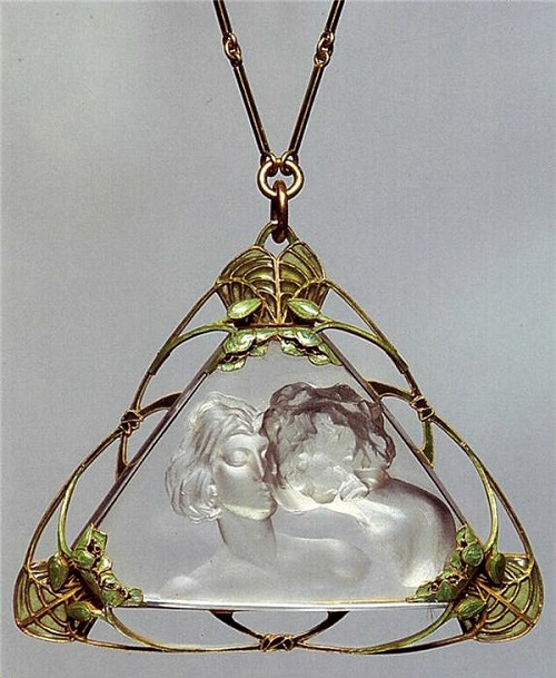 Triangle Art Nouveau pendant