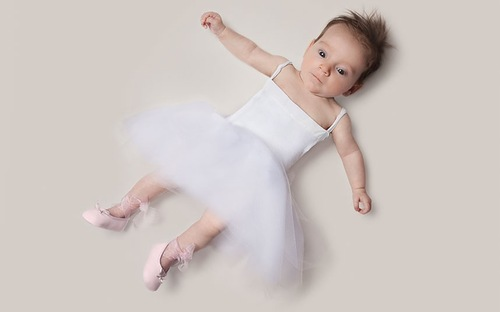 The project - Un Jour, Mon Enfant Tu Seras. Baby June dressed as a ballerina. One Day My Child You Will Be. Photo project by American photo artist Eric Maloberti