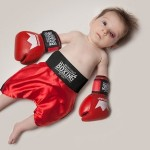 Cute Baby June dressed as a boxer. Photo project by American photo artist Eric Maloberti