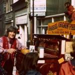 Barrel Organ player, with monkey, Liverpool 1975
