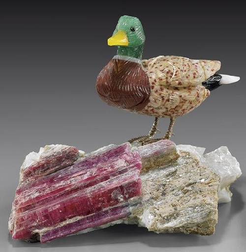 Birds carved from precious stones by Peter Muuller
