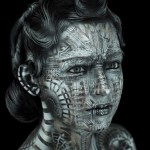 Geometrical patterns on a face. Body painting. Eye Level Studio by American artist Michael Rosner