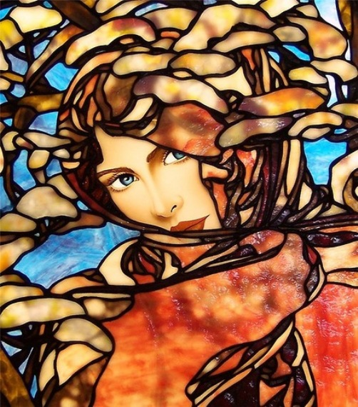 Stained glass work inspired by Nouveau artist Alphonse Mucha