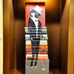 Black bird in human clothes, book installation for the opening of the flagship store in Hong Kong by American artist Mike Stilkey