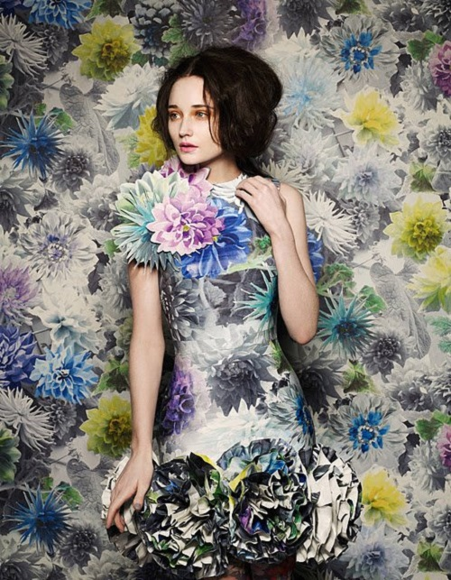Colorful dahlia. Beautiful botanical wallpaper dress created by British stylist and photographer Damian Foxe