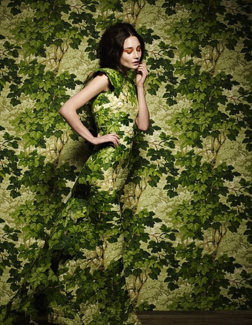 Beautiful botanical wallpaper dress created by British stylist and photographer Damian Foxe
