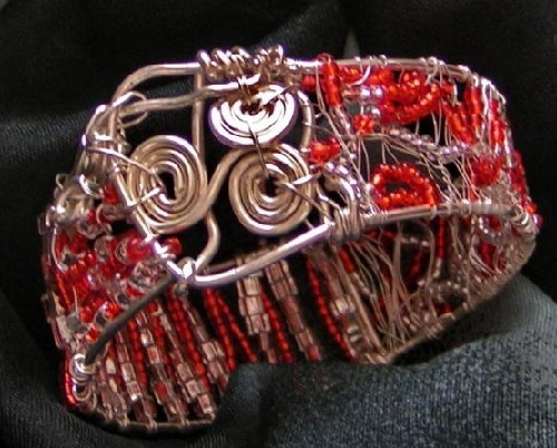 Bracelet Rodos. Silver wire, Czech, Japanese beads, freeform 2011