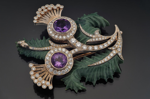 "Brooch of gold with diamonds, amethysts and jasper. Beautiful jewelry by St. Petersburg true style ""Catherine Kostrigina"""
