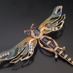 "Dragonfly Brooch of gold with diamonds and sapphires. Beautiful jewelry by St. Petersburg true style ""Catherine Kostrigina"""