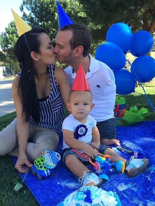 Celebrating 1st birthday of his son