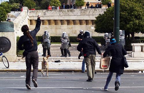 Athens Protest Dog Loukanikos