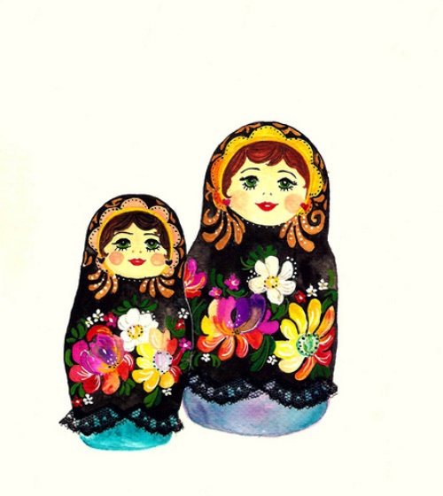 Russian matryoshka dolls. Drawings by Daniela Dahf Henríquez