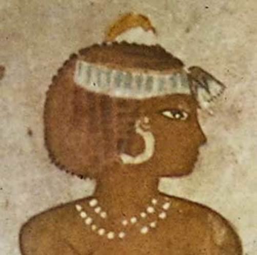 Egyptian girl wearing Pearl necklace