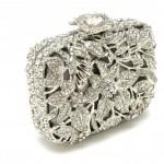 Astonishing crystal floral motif clutch