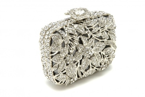 Astonishing crystal floral motif clutch
