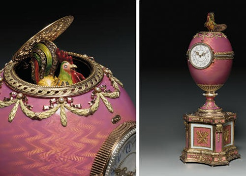 Faberge egg Clocks, surprise inside - the hen