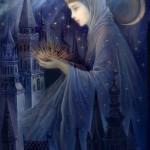 Night magic. Fedoskino Lacquer Art by Russian artist Nadezhda Strelkina