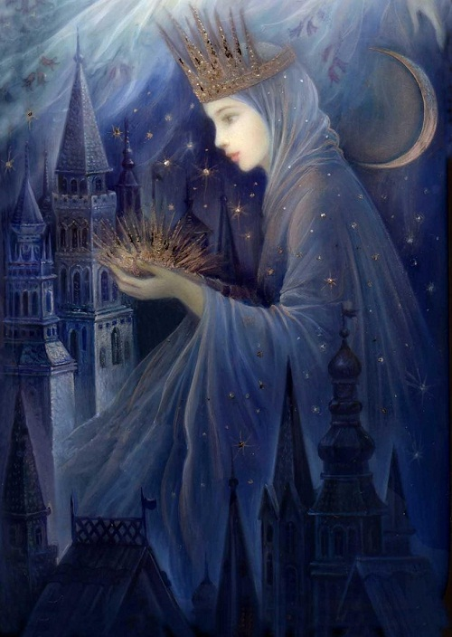 Night magic. Fedoskino Lacquer Art by Russian artist Nadezhda Strelkina
