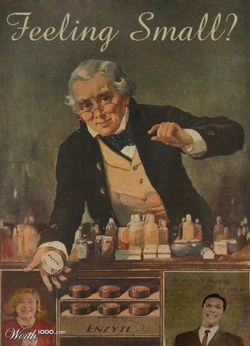 A pharmacist: Feeling small - enzyte. Absurd Vintage Ads