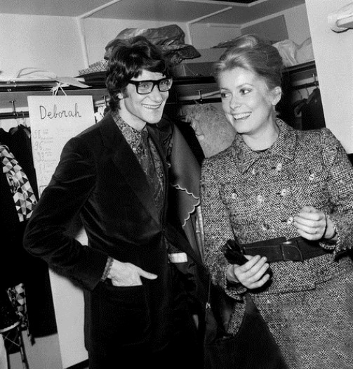 French fashion designer Yves Saint Laurent and Catherine Deneuve