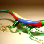 Lizard. Glass insect sculptures by American artist Wesley Fleming