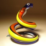 Colorful snake. Glass insect sculptures by American artist Wesley Fleming