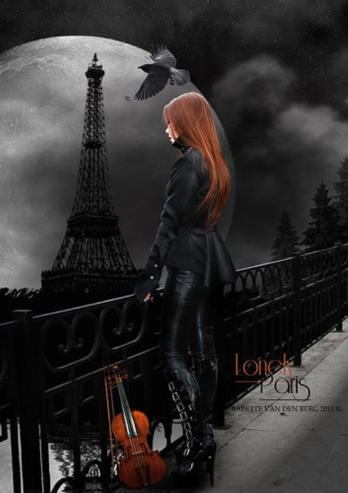 Eiffel Tower against full Moon. Gothic art by Netherlandish photo artist Babette van den Berg