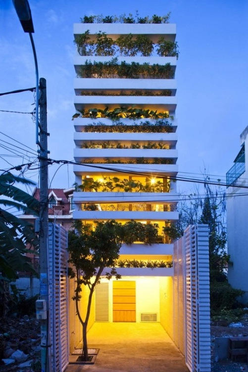 Eco friendly and energy saving Green House designed by architects Vo Trong Nghia, Daisuke Sanuki, Nishizawa Shunri in Vietnam