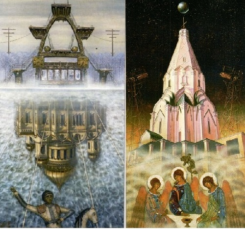 'Heritage' - triptych by Valery Balabanov. Left - The Swimmer, right - Flight of the Trinity