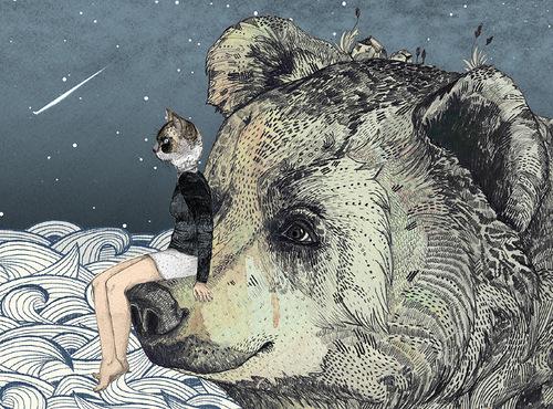 A bear. Fabulous book illustration by British artist Sandra Dieckmann