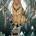 Eurasian lynx. Book illustration by British artist Sandra Dieckmann