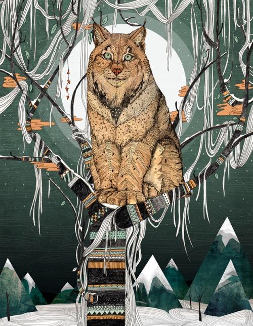 Eurasian lynx. Book illustration by British artist Sandra Dieckmann