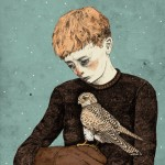 A boy with a hawk. Book illustration by British artist Sandra Dieckmann