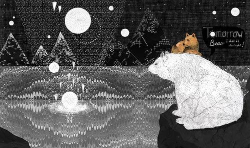 Polar bear. Nature inspired book Illustration by British artist Sandra Dieckmann