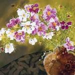 Bouquet of flowers. Indonesian batik (painting on silk) by Japanese artist Yuko Nakata