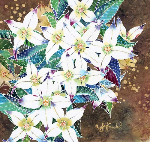 Indonesian batik (painting on silk) by Japanese artist Yuko Nakata