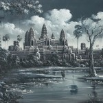 Ancient wat temple. Khmer art in painting