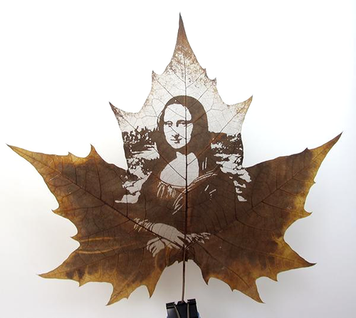 Beautiful message in Leaf carving art