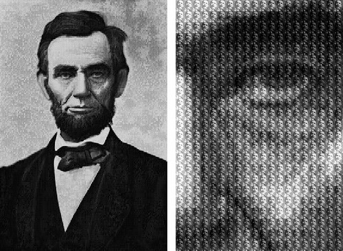 Lincoln from photographs of Obama. Photomosaic by Chinese photoartist Alex Guofeng Cao
