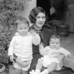 Mrs. Lita Grey Chaplin, wife of Charles Spence Chaplin, with her two children, Sidney Earl (left) and Charles Spencer Jr., (right)