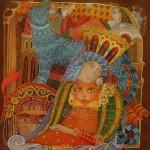 Beautiful painting on silk (batik) by Russian artist Lyubov Toscheva