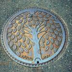 Tree of life. Japanese artful manhole covers symbolism