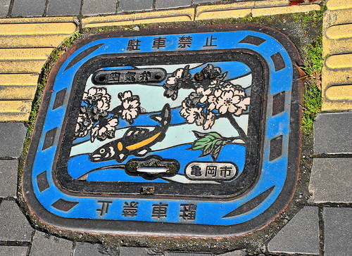 Scenes of computer games or cartoons on manhole covers