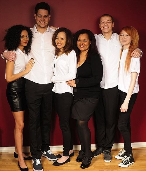 Maria and Lucy with their mother Donna and siblings George, 23, Chynna, 22, and Jordan, 21