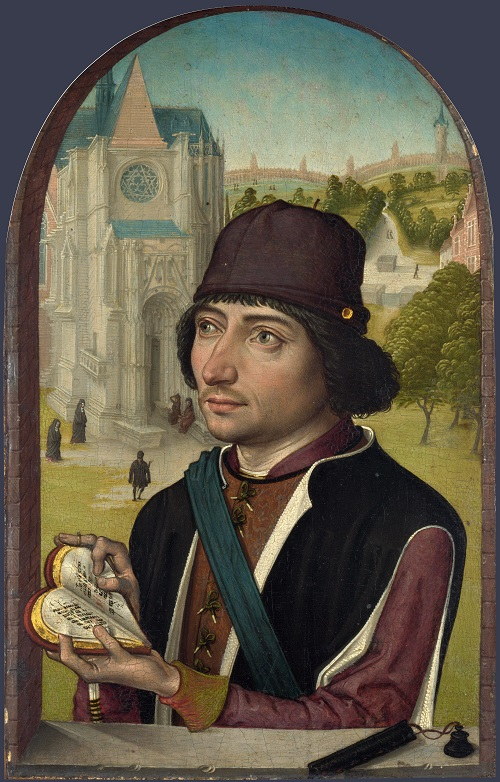 Portrait of a Young Man by Master of the View of St Gudula dated probably early 1480s. Heart shaped books of the XVth century