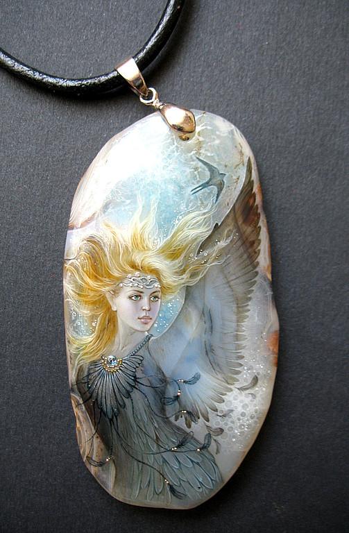 Fairy - swallow pendant. Miniature painting by Russian artist Svetlana Belovodova