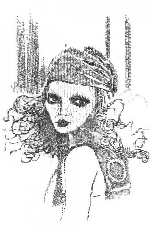 Miss Moss. Typewriter art by Keira Rathbone