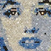 Mosaic portrait of beauty icon Marilyn Monroe made from Swarovski crystals
