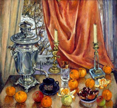 N.E. Zhitkov. Orange still life with samovar