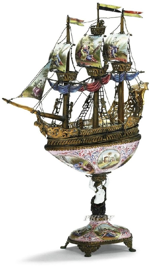 Jeweled ship with miniature sculptures of sailors and mythological creatures